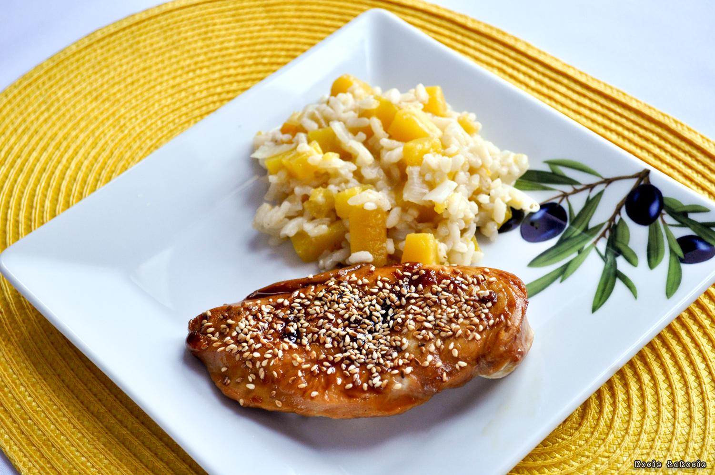 Kurczak teriyaki z dyniowym risotto