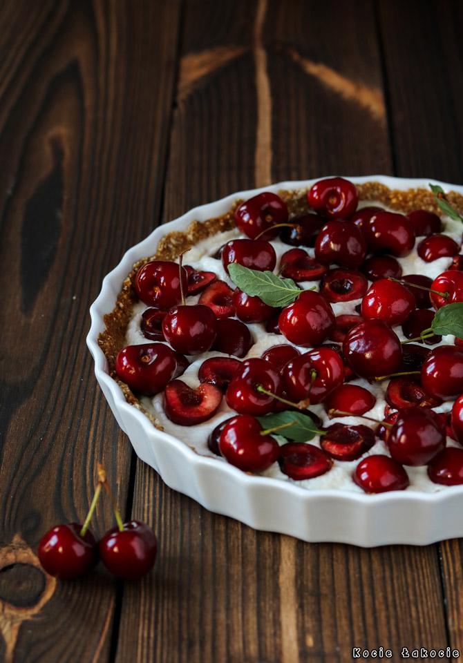 Tarta z czereśniami i ricottą (bezglutenowa i bez cukru)